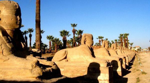卢索克神庙前的神道两旁各有一排人面狮身像。